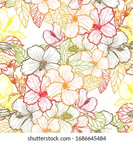 Elegant seamless pattern with hibiscus flowers, design elements. Floral pattern for invitations, cards, print, gift wrap, manufacturing, textile, fabric, wallpapers