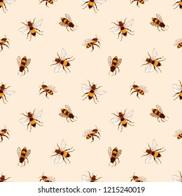 Elegant seamless pattern with honey bees on light background. Apiculture or beekeeping backdrop. Colored hand drawn vector illustration in retro antique style for wrapping paper, fabric print.