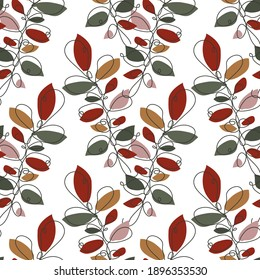 Elegant seamless pattern with leaves, design elements. Floral pattern for invitations, cards, print, gift wrap, manufacturing, textile, fabric, wallpapers. Continuous line art style