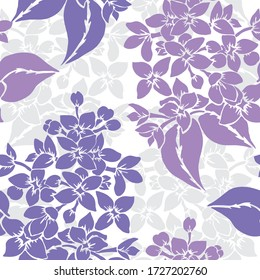 Elegant seamless pattern with lilac flowers, design elements. Floral  pattern for invitations, cards, print, gift wrap, manufacturing, textile, fabric, wallpapers