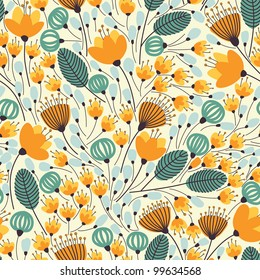 Elegant seamless pattern with orange flowers, vector illustration