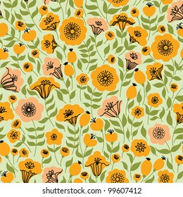 Elegant seamless pattern with orange and pink flowers, vector illustration