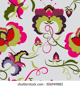 Elegant Seamless pattern with ornament, floral illustration in vintage style Floral background with colorful flower
