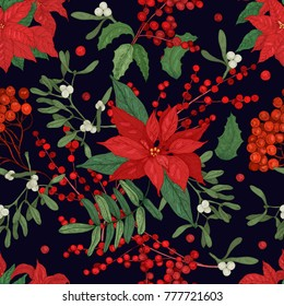 Elegant seamless pattern with parts of winter plants - poinsettia, mistletoe, branches of rowan tree with berries, holly leaves. Hand drawn vector illustration for wrapping paper, textile print.