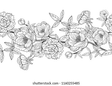Elegant seamless pattern with peony flowers, design elements. Floral  pattern for invitations, cards, print, gift wrap, manufacturing, textile, fabric, wallpapers