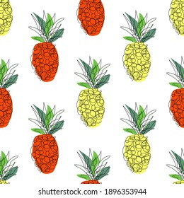Elegant seamless pattern with pineapple fruits, design elements. Fruit pattern for invitations, cards, print, gift wrap, manufacturing, textile, fabric, wallpapers, caffe menu. Continuous line