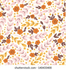 Elegant seamless pattern with pink flowers, vector illustration