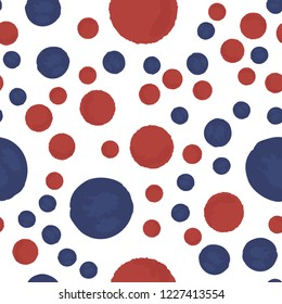 Elegant Seamless pattern polka dots in blue and red colors. Vector. Elements are not cropped. Pattern under the mask. Perfect design for posters, cards, textile, web etc.