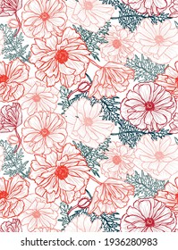 Elegant seamless pattern with poppy flowers, design elements. Floral  pattern for invitations, cards, print, gift wrap, manufacturing, textile, fabric, wallpapers