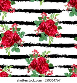 Elegant seamless pattern with red rose flowers in watercolor style, design elements. Floral pattern for wedding invitations, greeting cards, scrapbooking, print, gift wrap, manufacturing. Editable
