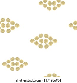 Elegant Seamless Pattern rhombus Gold color. For design, textile, pattern fills, box, posters, cards, web page background etc. Pattern under the mask. Vector.