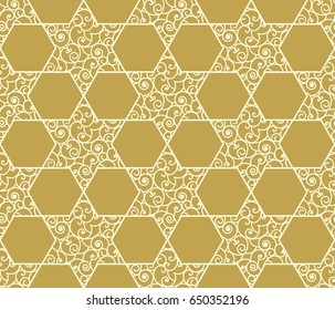 Elegant seamless pattern with star of David, symbol of Israel. Modern vector design for laser cut decorative panels, greeting cards, stencil, wallpaper, scrapbook, wrapping paper.