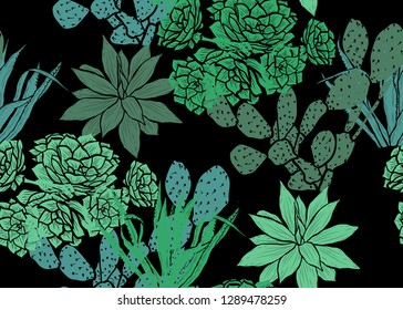 Elegant seamless pattern with succulent plants, design elements. Floral pattern for invitations, cards, print, gift wrap, manufacturing, textile, fabric, wallpapers. Succulents