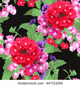 Elegant seamless pattern with verbena and petunia flowers in watercolor style, design elements. Floral pattern for wedding invitations, greeting cards, scrapbooking, print, gift wrap, manufacturing