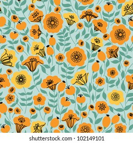 Elegant seamless pattern with yellow and orange flowers, vector illustration