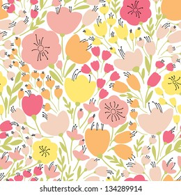 Elegant seamless pattern with yellow and pink flowers, vector illustration