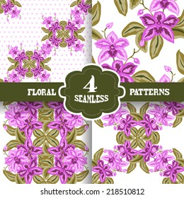 Elegant seamless patterns with hand drawn decorative flowers, design elements. Floral pattern for wedding invitations, greeting cards, scrapbooking, print, gift wrap, manufacturing.