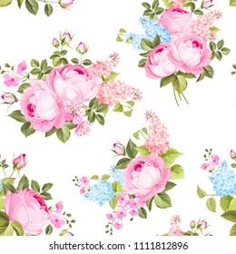 Elegant seamless rose pattern on white background. Vector illustration.