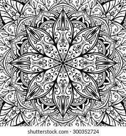Elegant, seamless, vector cover with oriental ornaments of mandalas on a white background. Sketch pattern for rug.