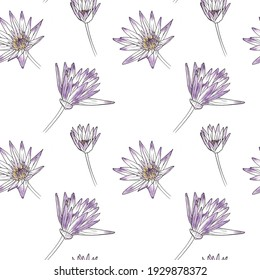 Elegant seamless vector pattern with hand drawn lilac water lily flowers