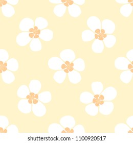 Elegant seamless vector pattern with white hand drawn flowers on yellow background. Summer fashion pattern with floral elements for textile,fabric,fashion decor,print,gift wrap and cool home decor.