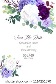 Elegant seasonal dark flowers vector design wedding frame. Purple and violet rose, white and deep blue hyrangea, seeded eucalyptus, greenery. Floral style border.All elements are isolated and editable