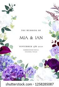 Elegant seasonal dark flowers vector design wedding frame. Dark violet and purple rose, white and lilac hyrangea, iris, carnation, seeded eucalyptus, greenery. All elements are isolated and editable