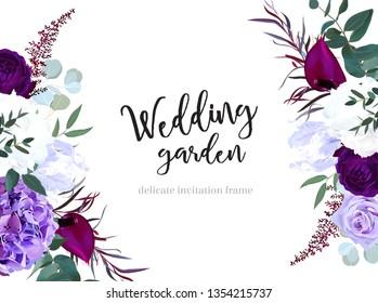 Elegant seasonal dark flowers vector design wedding frame. Purple and violet rose, white and deep blue hyrangea, astilbe, anthurium, iris, eucaliptus. Floral style border.All elements are isolated.