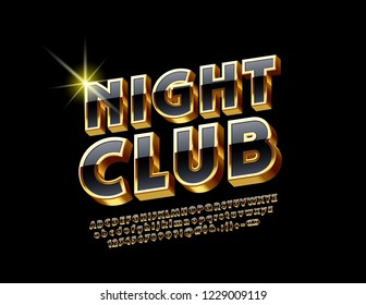 Elegant set of Black and Golden 3D Alphabet Letters, Numbers and Punctuation Symbols. Vector Logo with text Night Club.
