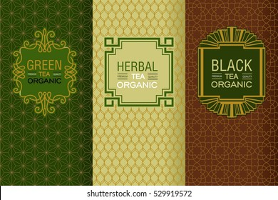 Elegant set of design elements, labels, icon, frames, seamless backgrounds for packaging in trendy linear style for for black, herbal and green tea.