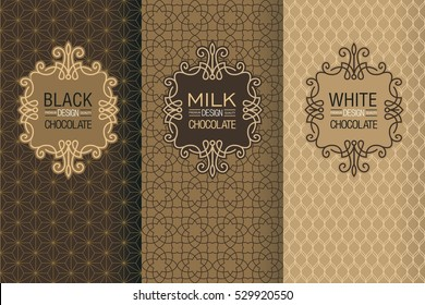 Elegant set of design elements, labels, icon, frames, seamless backgrounds for packaging in trendy linear style for chocolate and cocoa package -white, milk and dark chocolate.