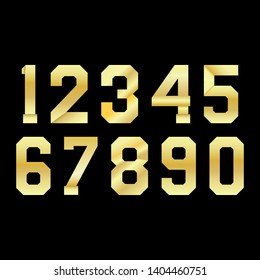 Elegant set numbers gold colored metal alphabet font on black background. Classic style, golden font set for logo, posters, invitation. Vector illustration.