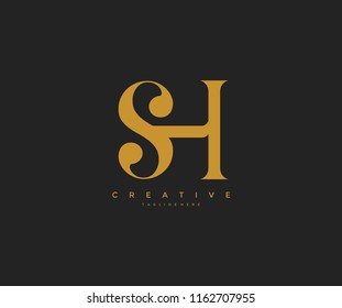 Elegant SH Letter Linked Monogram Logo Design