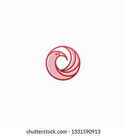Elegant Shankofa Bird logo. With circle line art concept and modern design.