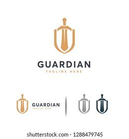 Elegant Shield logo designs concept vector, Guardian symbol, Shield and Sword logo template
