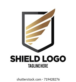 Elegant Shield shape with abstract wings Crest Logo