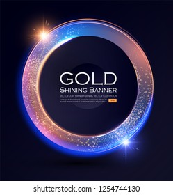 Elegant Shining Circle Banner with Glitter Light Effect. Vector illusratration