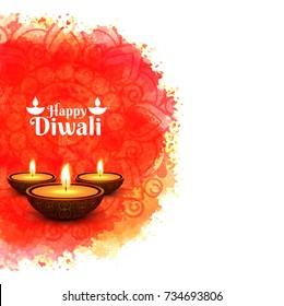 Elegant shiny diwali festival design with watercolor background