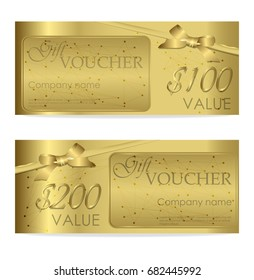 Elegant shiny gift voucher with golden bow, ribbon. Vector template for gift card, coupon and certificate with ornate background. Isolated from the background. Golden cybernetic dots. Lines plexus.