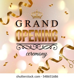 Elegant shiny Grand Opening background with ribbon, confetti and scissors. Vector illustration.