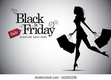 Elegant shopping woman Black Friday advertising background template. EPS 10 vector, grouped for easy editing. No open shapes or paths. Marketing poster, web page, shopping bags design with copy space.