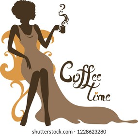Elegant silhouette of beautiful woman with a cup of coffee . Beautiful silhouette for stylish and luxurious design of vintage style. Isabelle series