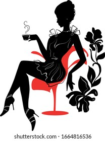 Elegant silhouette of beautiful woman with a cup of coffee or tea. Beautiful silhouette for stylish and luxurious design of vintage style. Isabelle series
