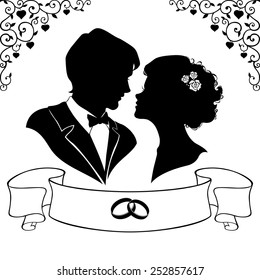 Elegant silhouette of the bride and groom isolated on white background. Vector illustration