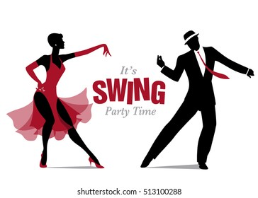Elegant silhouette couple dressed in 1950s clothes style, dancing jazz or swing