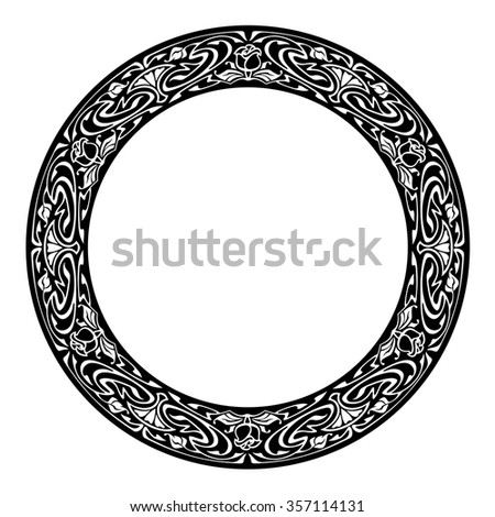 Elegant Silhouette Frame Art Nouveau Style Stock Vector Royalty