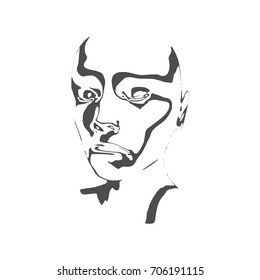 Elegant silhouette of a human head. Monochrome portrait painted by chaotic stripes pattern.