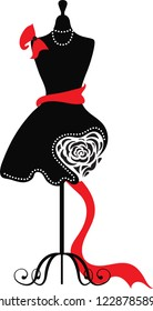 Elegant silhouette tailors dummy with a rose, bow and heart. Delicate flowers for background. Beautiful silhouette for stylish and luxurious designs for vintage style. Isabelle series