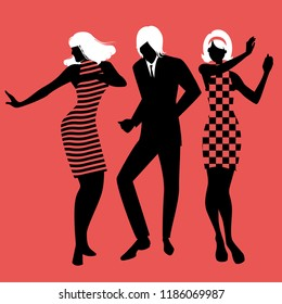 Elegant silhouettes of people wearing clothes of the sixties dancing 60s style on red background