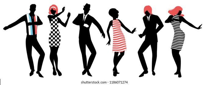 Elegant silhouettes of people wearing clothes of the sixties dancing 60s style isolated on white background